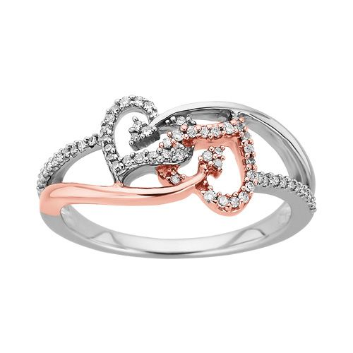 10k Yellow Gold Diamond Double Heart Promise Ring Fashion Band 1//6 ct