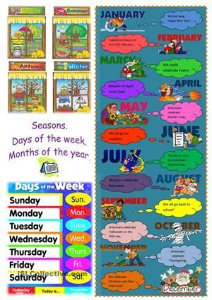 seasons, days of the weeks, months of the year | kindergarten ...