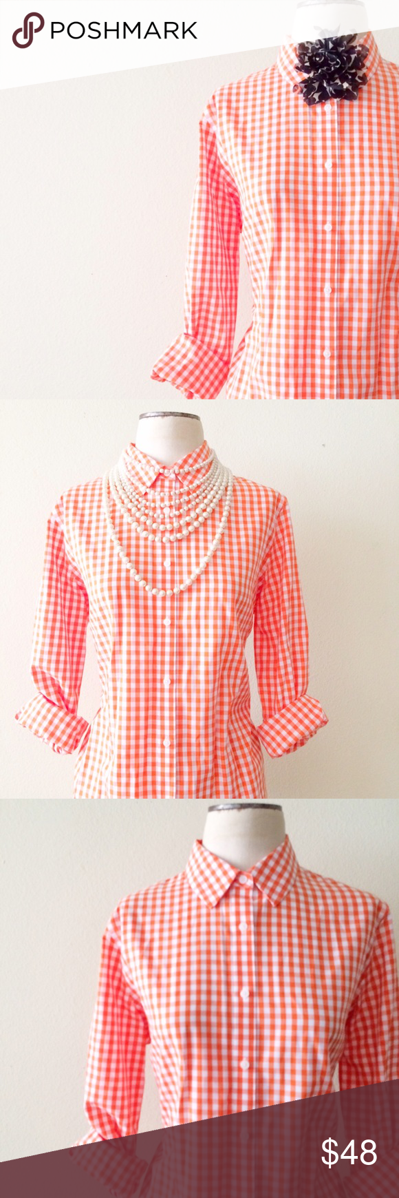 Orange Gingham Print Button Up NWOT. Size Large. Jones New York brand. Listed for exposure. Accessory not included. J. Crew Tops Button Down Shirts