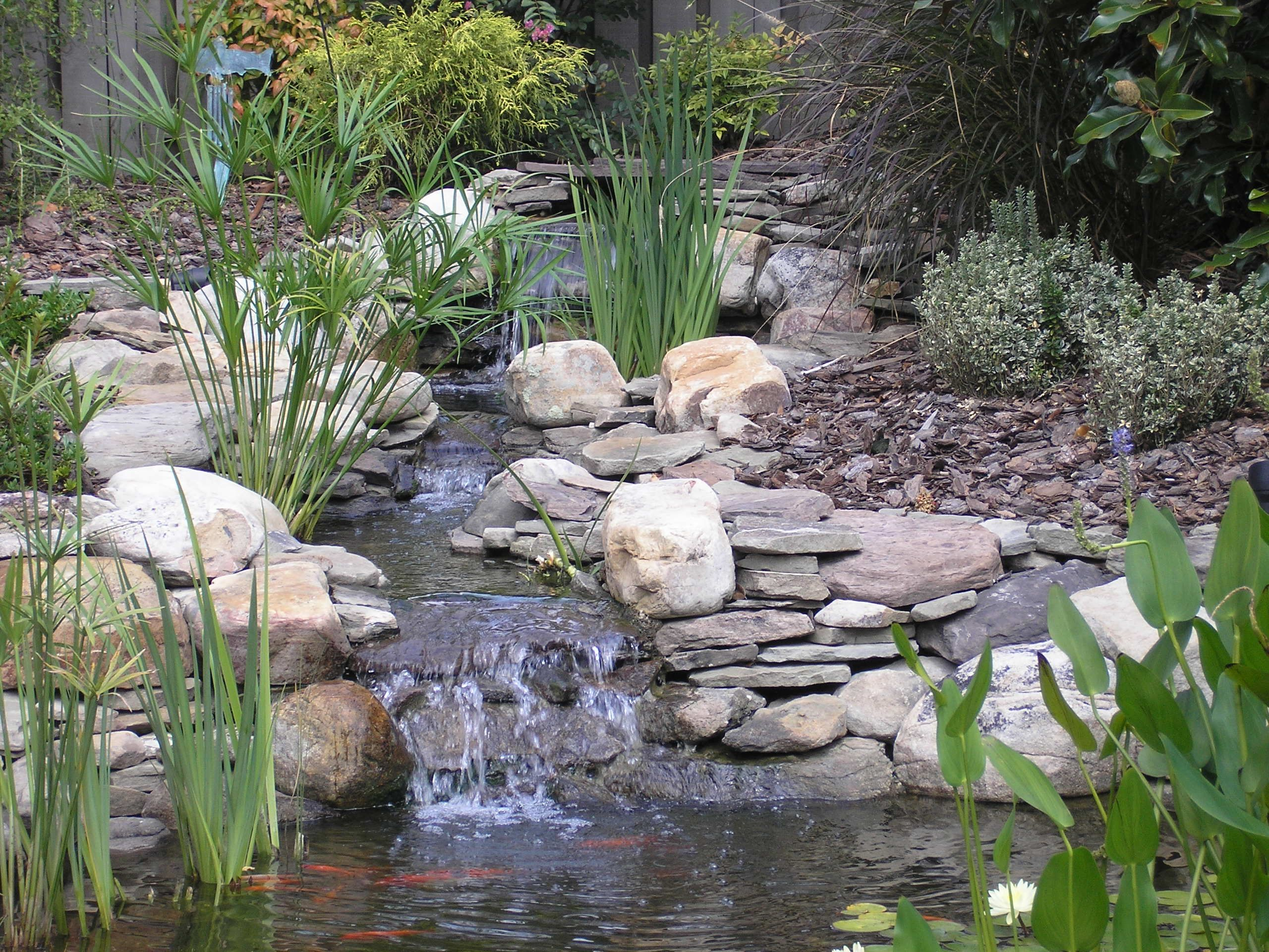 Another perfect example of how a man made waterfall can be for Natural backyard pond