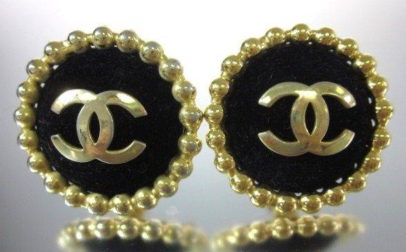 Vintage CHANEL Gold Plated Black Velvet Button Earrings www.ShopLindasStuff.com