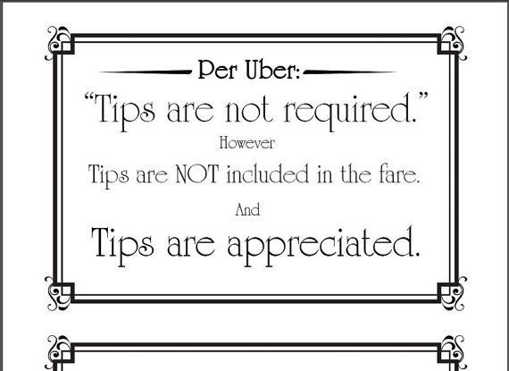 photograph relating to Printable Tip Jar Signs titled Impression consequence for uber indicator printable Trip Percentage Things