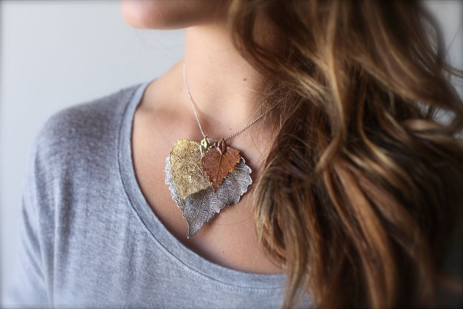 leaf necklace, gold leaf necklace, tri color dipped 24k gold, silver, and copper leaf pendant necklace and chain, CLUSTER. $50.00, via Etsy.