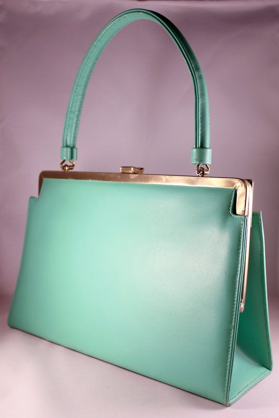 Vintage 1960s Mod Mint Green Structured Purse