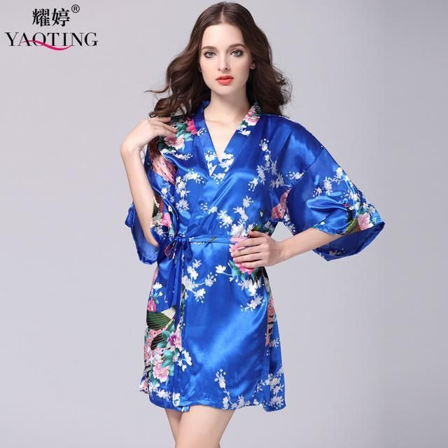 369ea393a7 SpaRogerss Fashion Women Bath Robe 2017 Brand Summer Faux Silk Floral Lady  Bathrobe Female Nightwear Mothers Sleep Kimono WP065