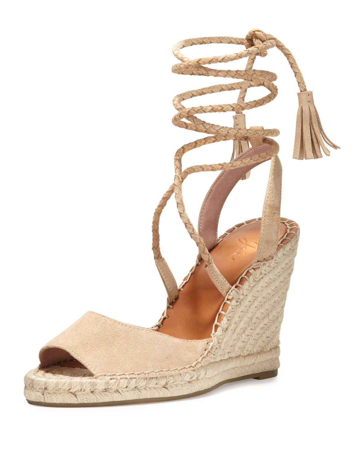 5cb3545866 Phyllis Suede Lace-Up Wedge Espadrille Sandal, Buff, Women's, Size:  36.0B/6.0B - Joie