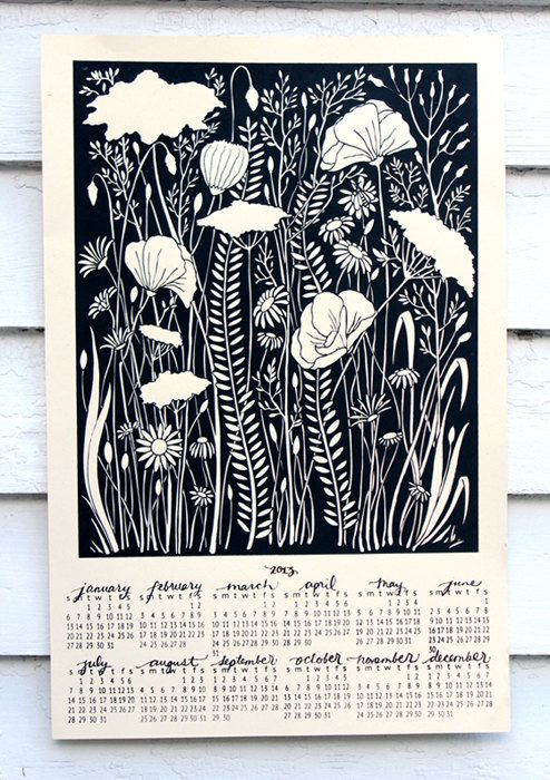 2014 Wall Calendar Screen Print  Hungry Fox  CREAM  by thehungryfox,  $24.00