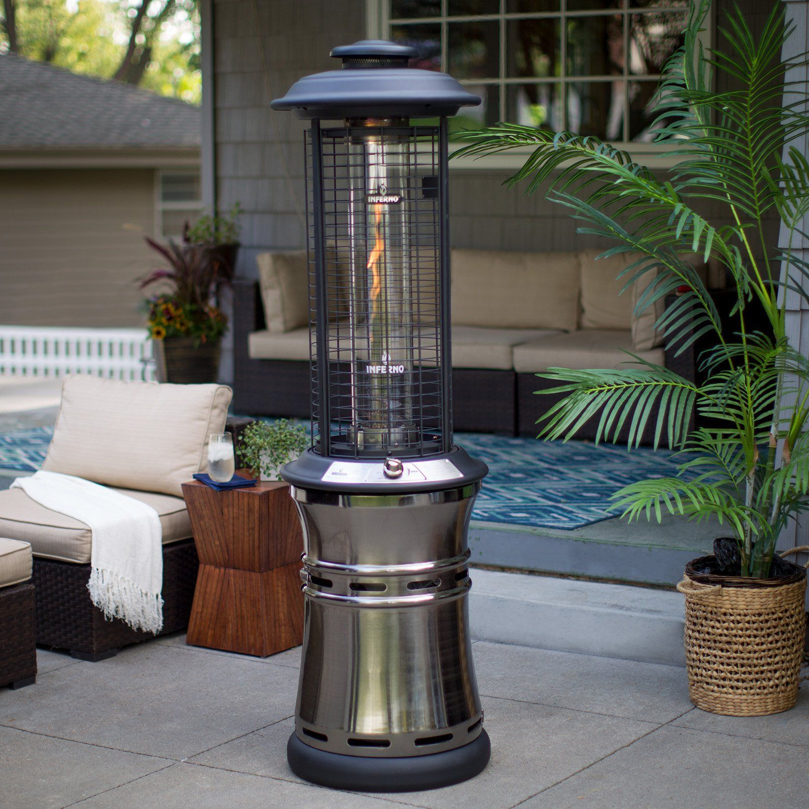 Red Ember Carbon Collapsible Gun Metal Glass Tube Patio Heater | From  Hayneedle.com