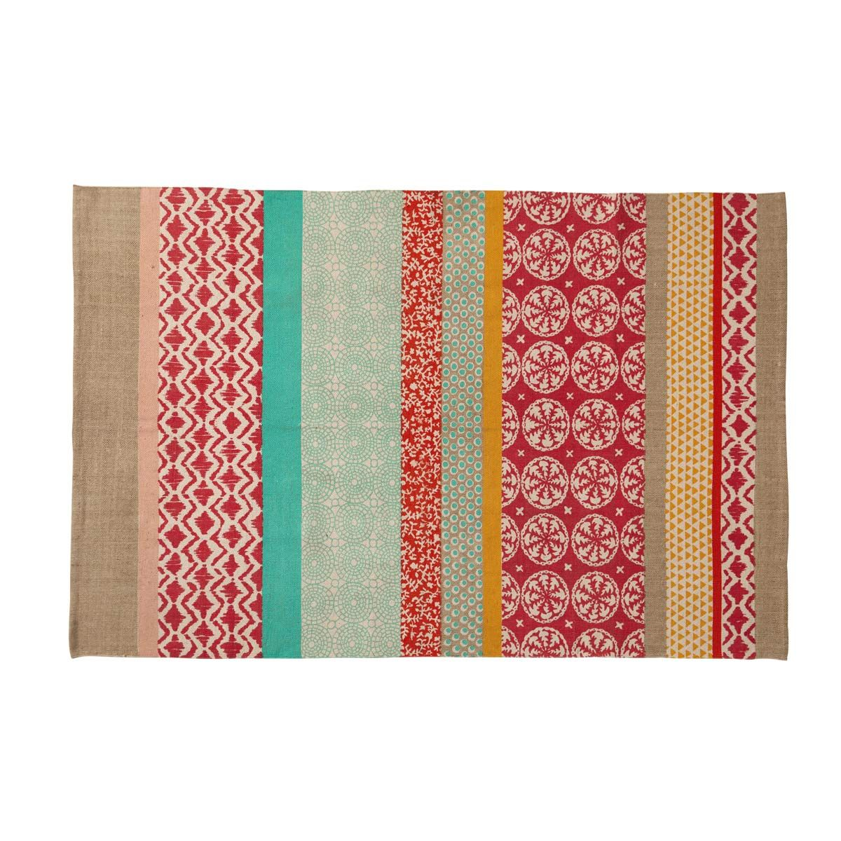 Cotton Rug With Multicoloured Patterns 120x180