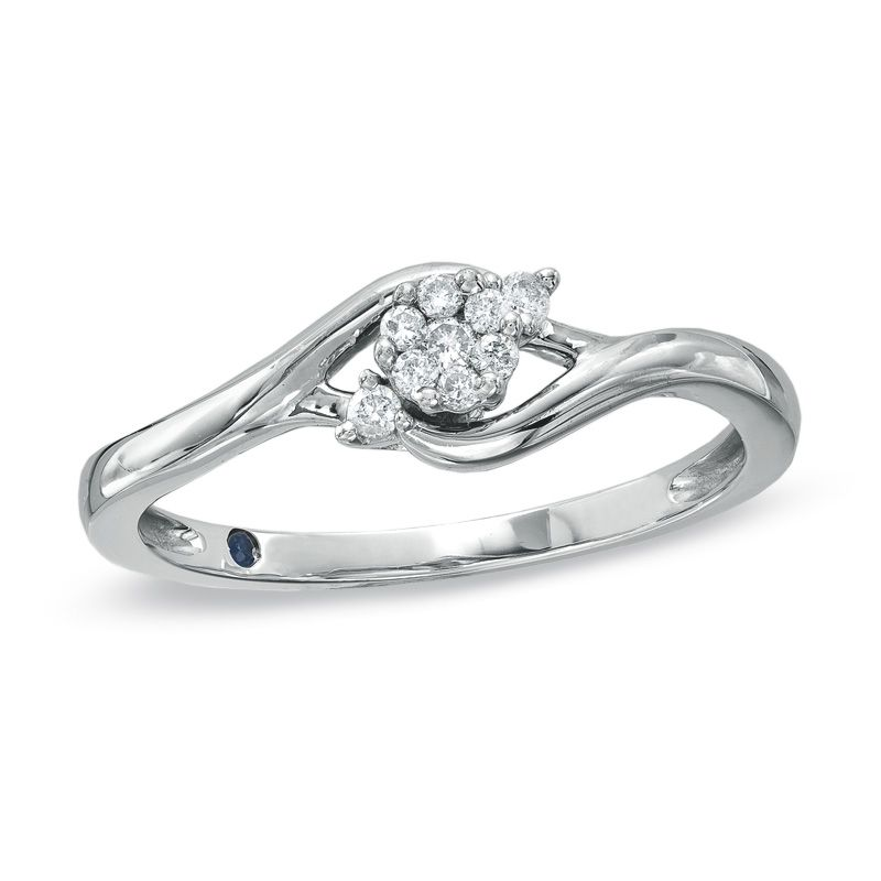 Zales 1/10 CT. T.w. Diamond Three Stone Slant Promise Ring in 10K White Gold ROtFTST