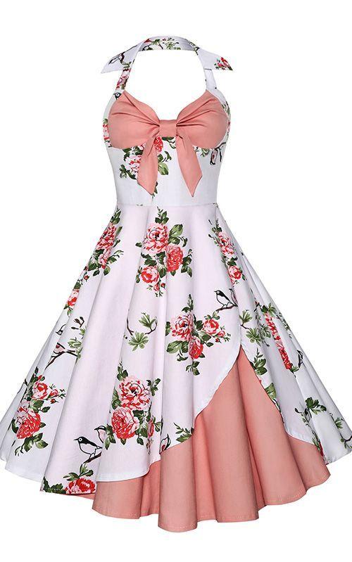 Vintage Halter Floral Print Dress | Vestido de moda, Jinete y Vestiditos