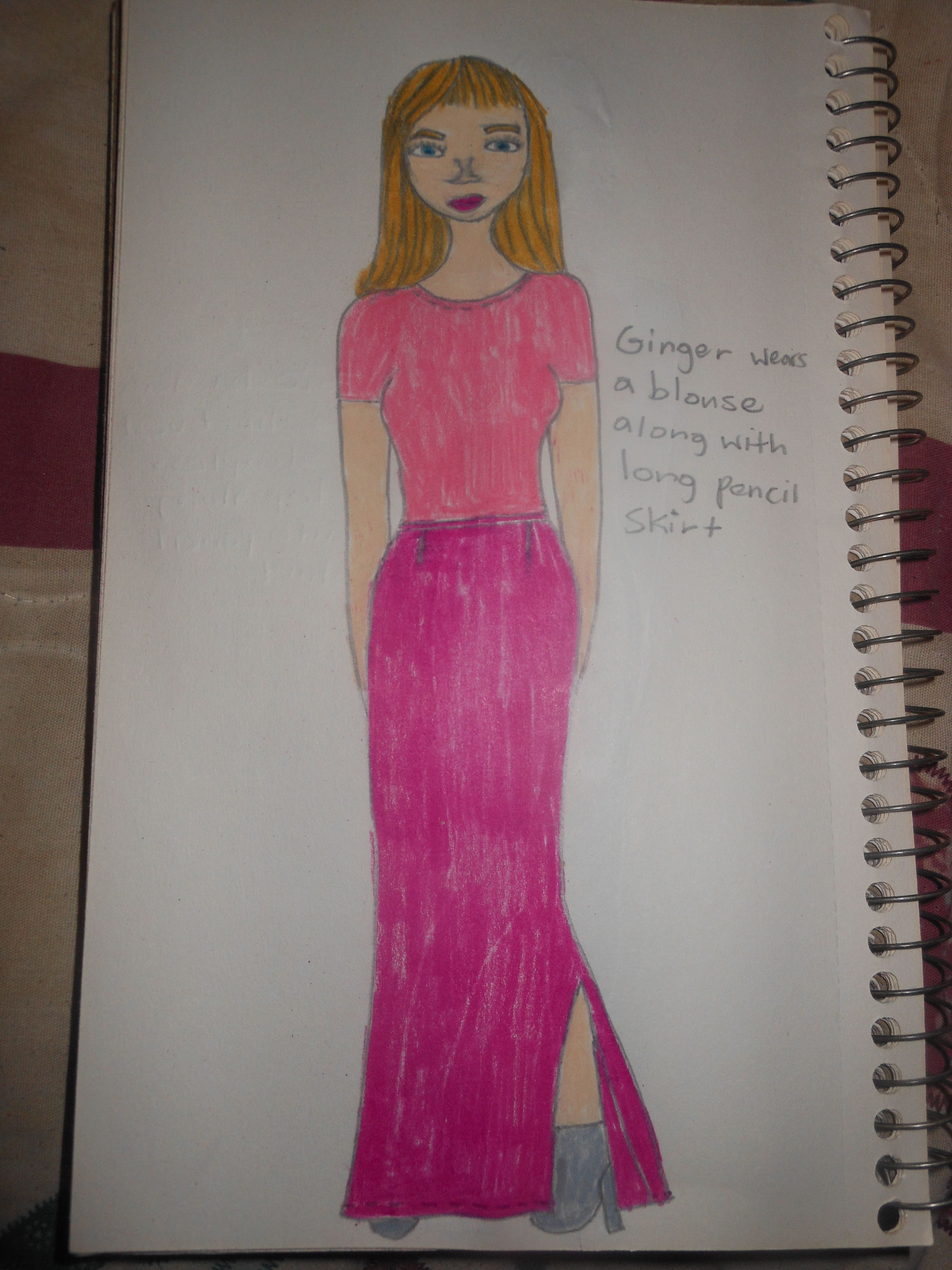 Pink dress drawing  Sketch of Peplum Pants  Shantelus Fashion Illustrations Fall