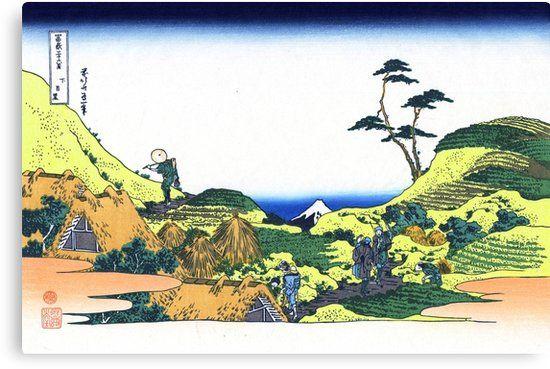 Below Meguro By Katsushika Hokusai Canvas Print By Takeda Art Japan Landscape Landscape Prints Katsushika Hokusai
