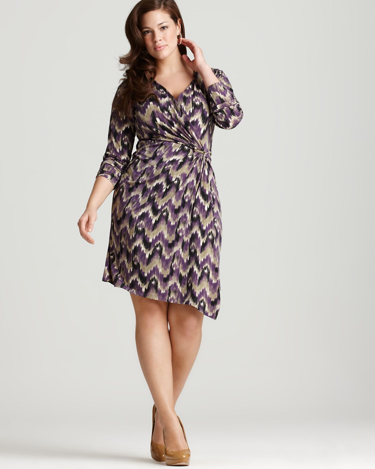 Plus size faux wrapp dress crossover v neck long sleeves inset