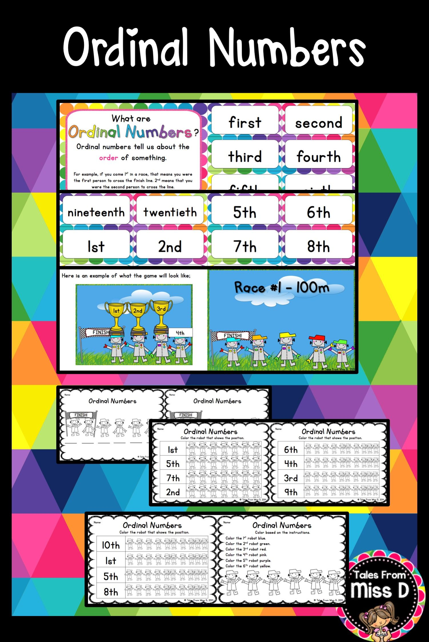 Ordinal Numbers | Ordinal numbers, Race games and Math