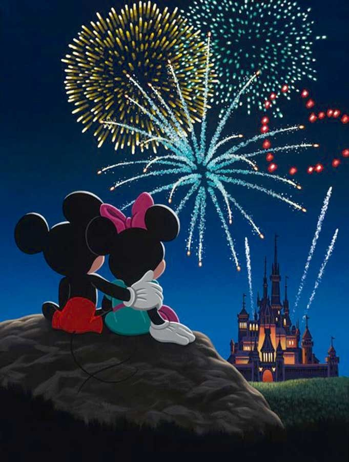 Mickey and Minnie - Fireworks, Mickey, Minnie, and Cinderella's castle...Valentina would love this!
