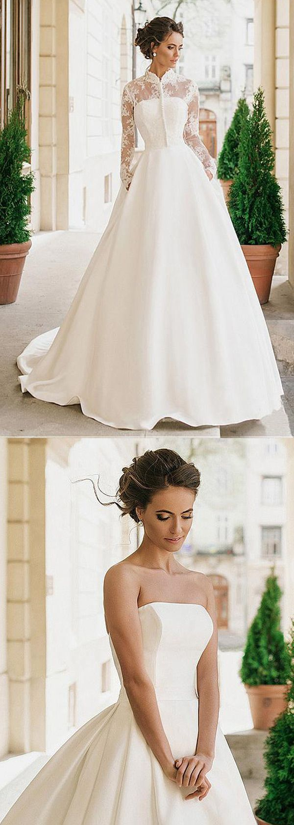 Wedding dress with collar  Gorgeous Satin High Collar Neckline Aline Wedding Dresses With