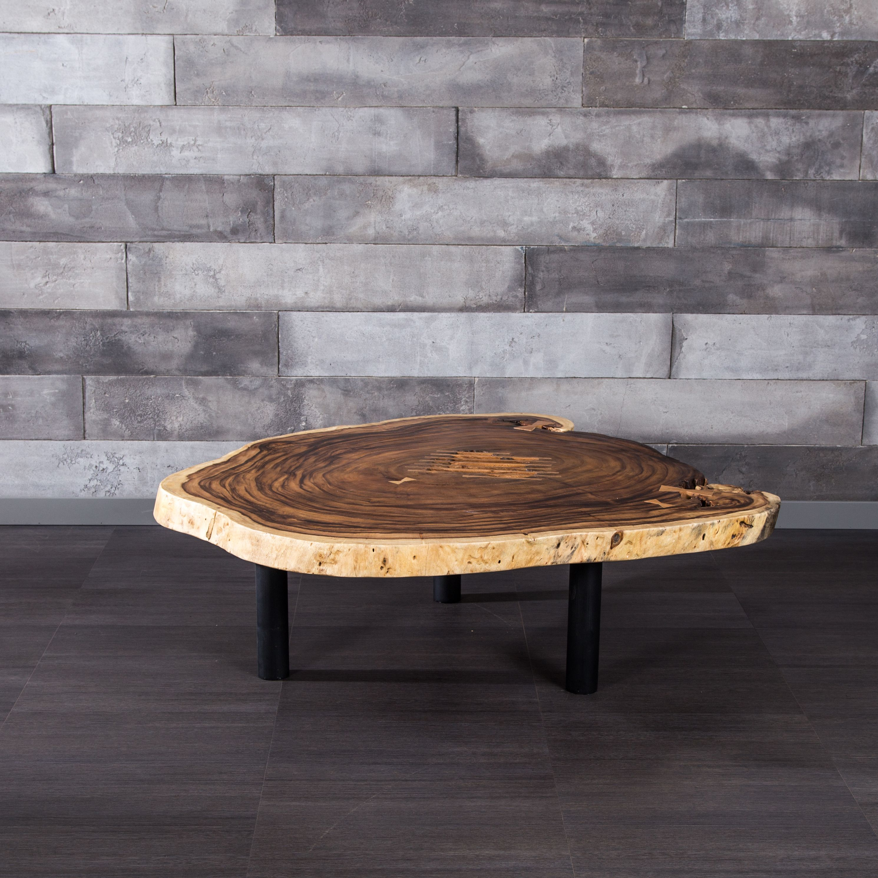 free form wood coffee table  Freeform Suar Wood Coffee Table With Metal Legs | TANYA ...