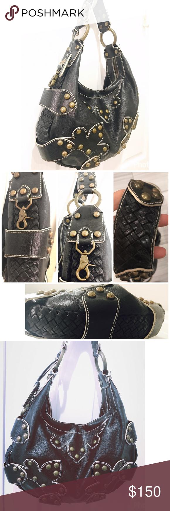 df81860916 Isabella Fiore Oasis Leather Hobo Shoulder Bag Isabella Fiore Oasis Large Leather  Studded Hobo Shoulder Bag