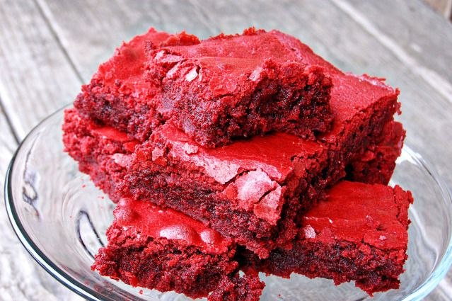 red velvet brownies...or Big Blue brownies with a change of food coloring:)