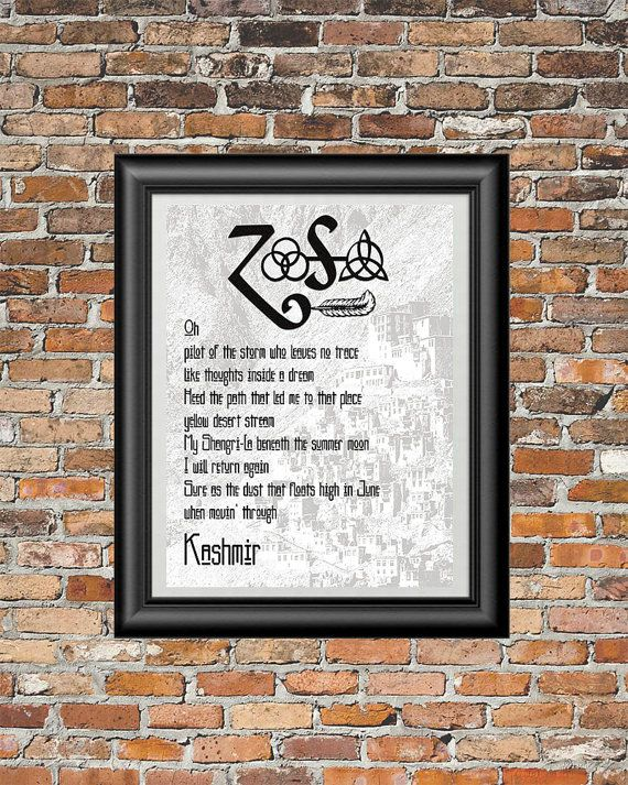 Kashmir by Led Zeppelin printable wall art by PrintableSongParts ...