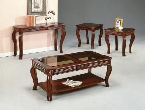 Best 3 Pc Lydia Cherry Finish Wood Coffee And End Table Set 640 x 480