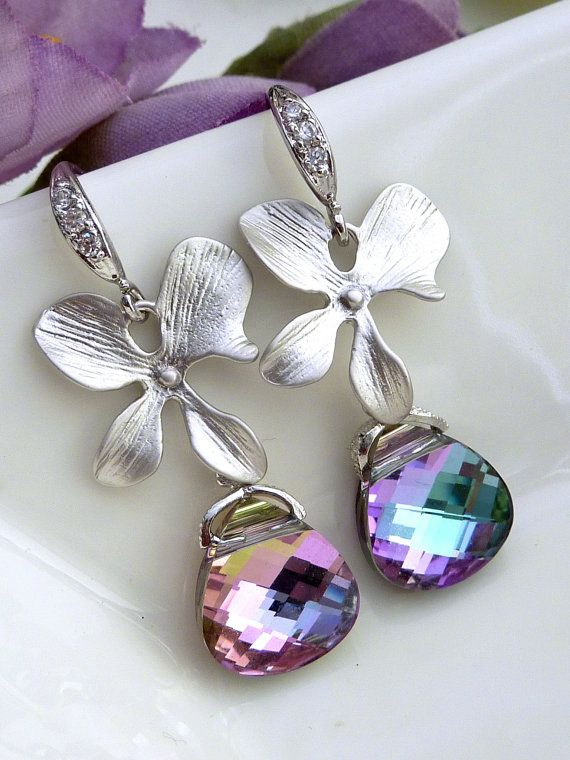 Vitrial Light Swarovski Crystal, Orchid Flower with Sterling Silver CZ Earrings