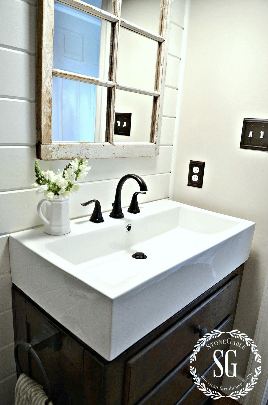 Farmhouse powder room reveal remodeling and decorating - Powder room sink ideas ...