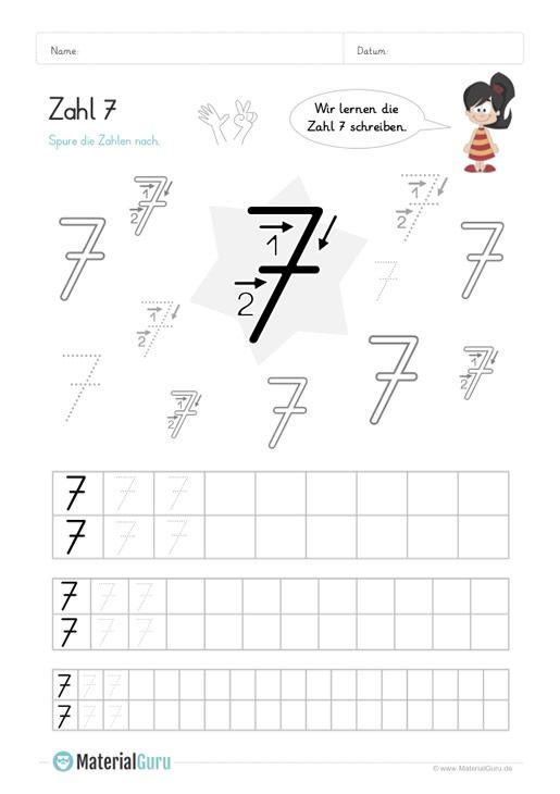 Ein kostenloses Mathe-Arbeitsblatt zum Schreiben lernen der Zahl 7 ...