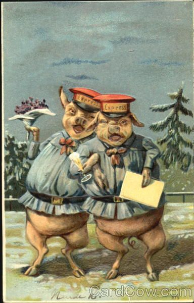 Mailman Pigs Drinking is part of Pig painting, Pig art, Pig, Happy pig, Little pigs, Piggy wiggy - Series 975