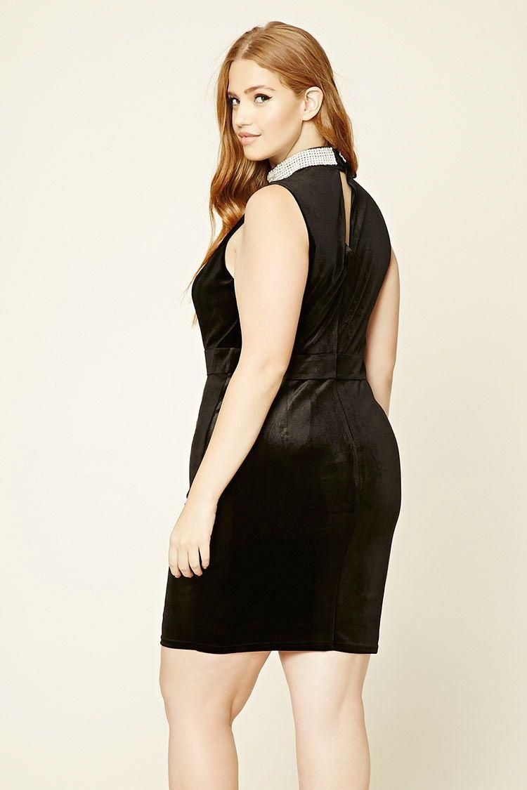Plus Size Velvet Rhinestone Dress