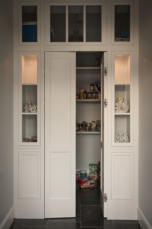Walk In Pantry With Bi Fold Doors Flanked By Built Display Cabinets Kitchen