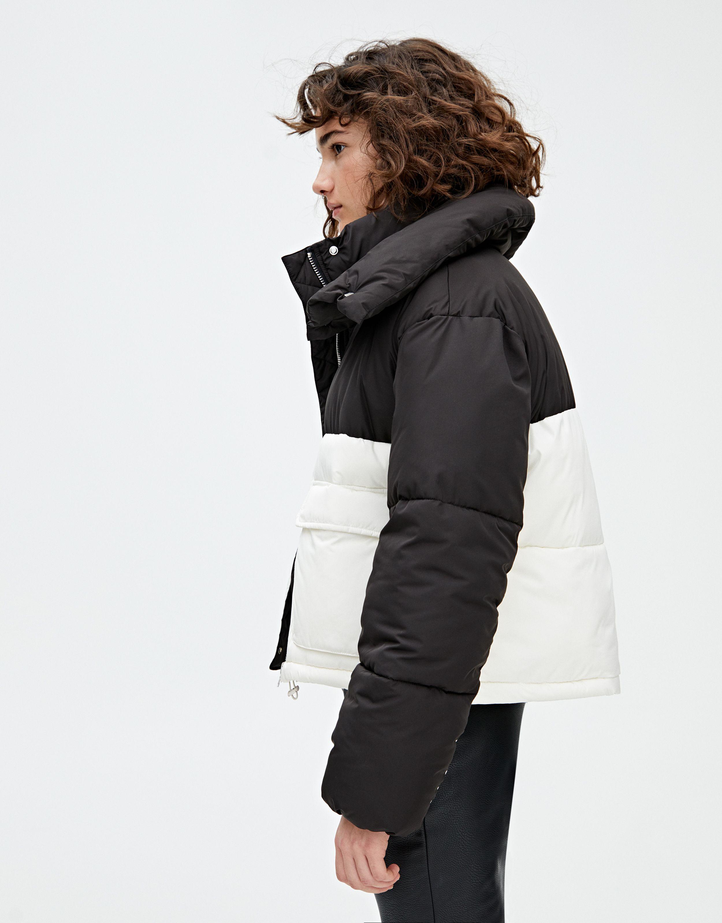 Pull & Bear shiny black puffer ski jacket, NWOT Black