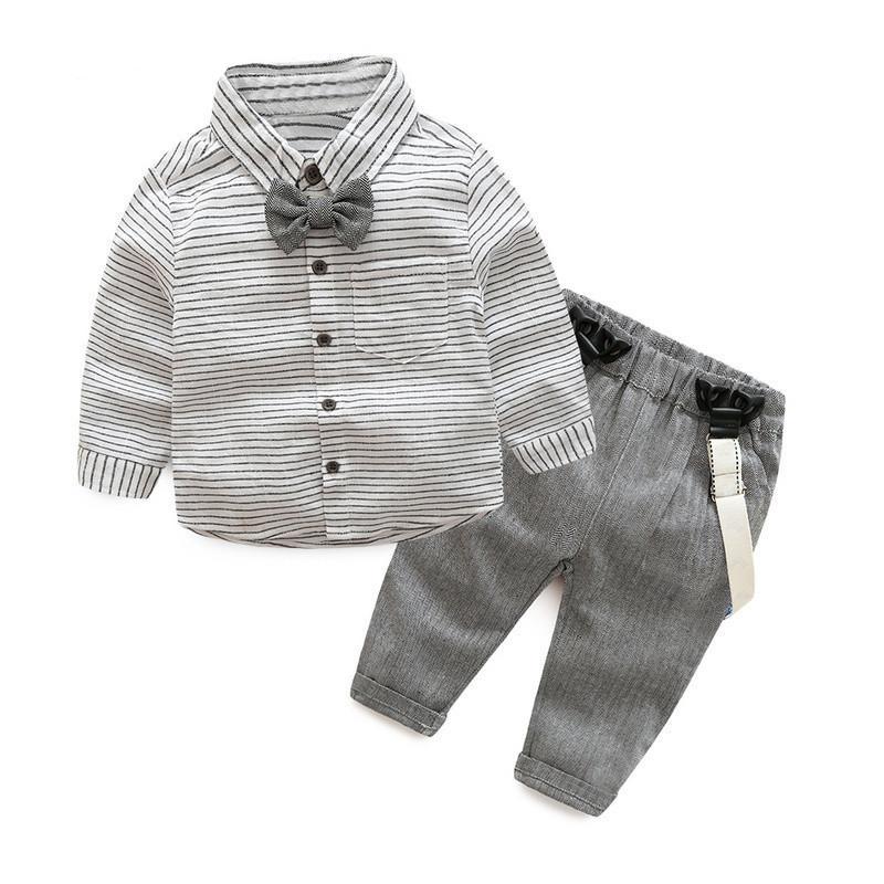 dda3ef6a3 Spring autumn baby boys clothing set Gentleman long-sleeve stripe Bow tie  shirt + suspenders newborn infant clothes suit