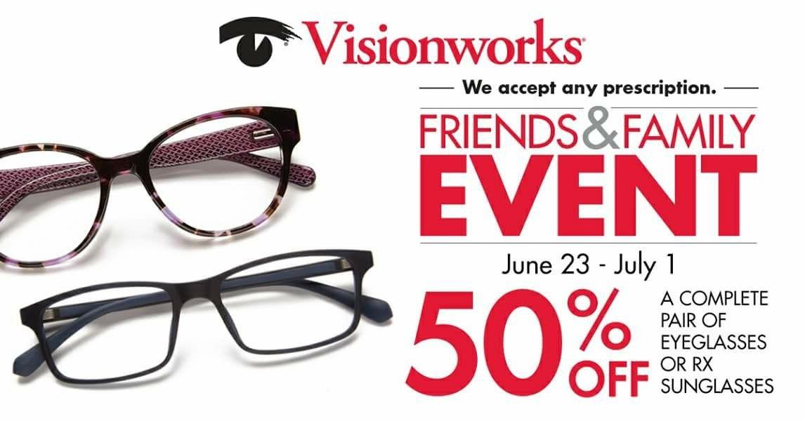 Visionworks is bringing it back! 50% Off UNLIMITED complete pair\'s ...