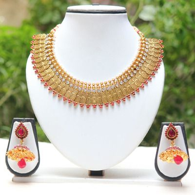 Fabulous Maroon Colour Temple Coin Necklace Set Necklaces and Necklace Sets on Shimply.com