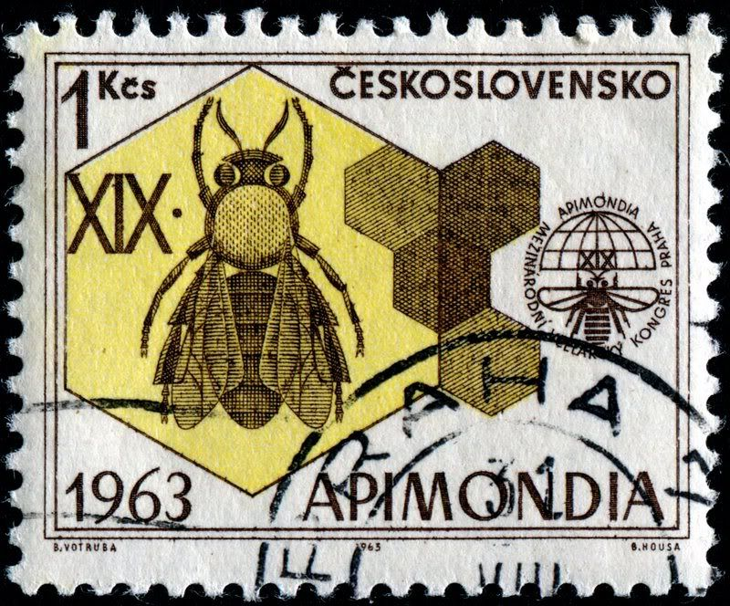 Honey Bee Stamp, Czechoslovakia