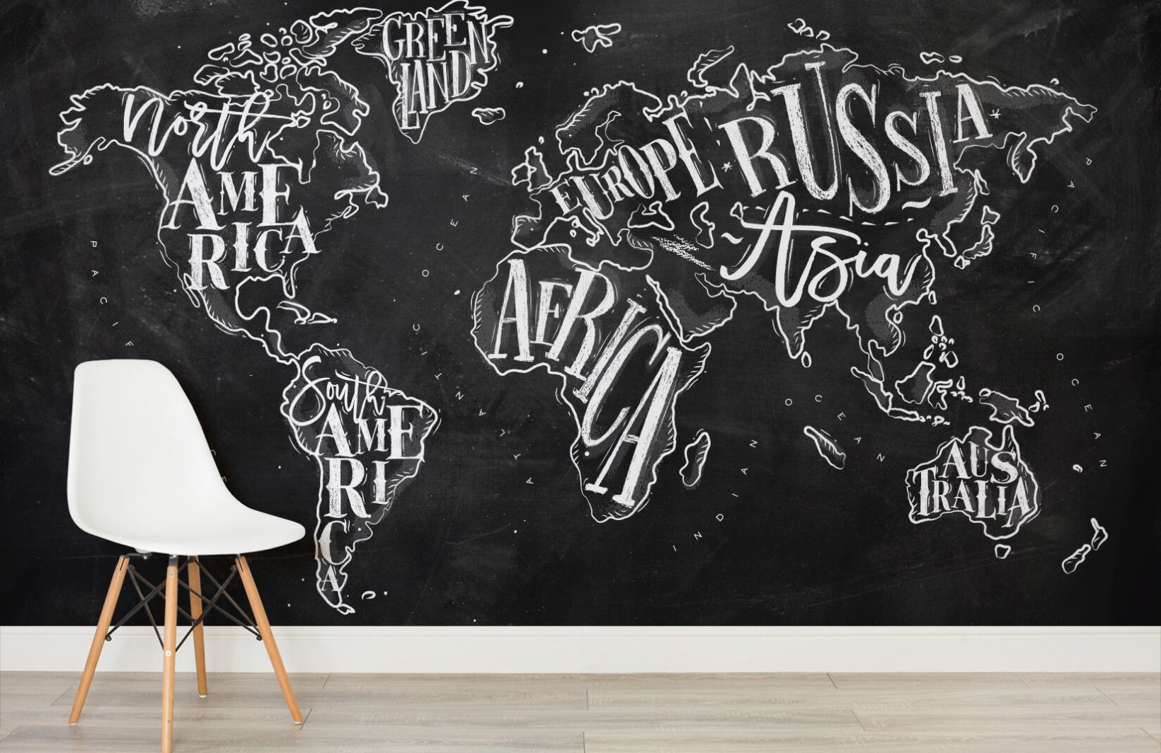 Chalkboard typography world map wall mural chalkboard typography chalkboard typography world map wall mural murals wallpaper gumiabroncs Gallery