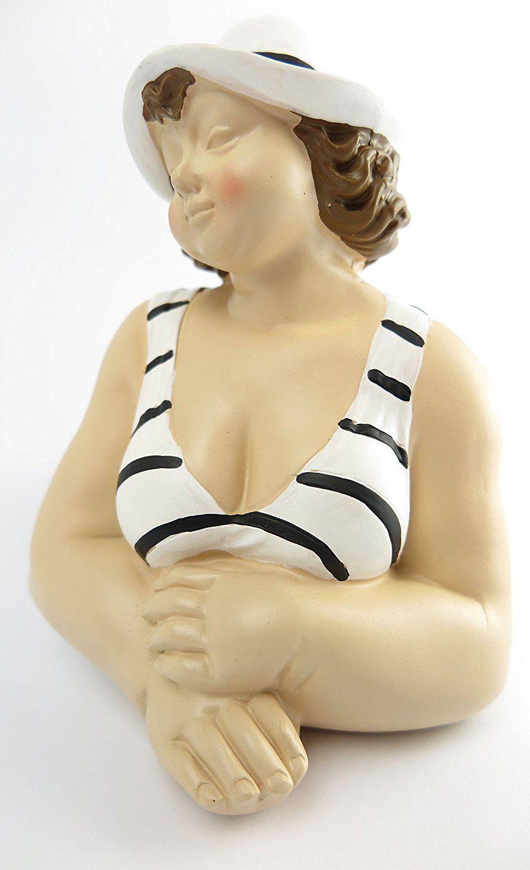 Dekofigur Mollige Frau LIEGEND schwarz wei/ß Badeanzug Retro Art Frauenfigur Dicke Badepuppe Figur Akt Baddeko Badezimmer Deko