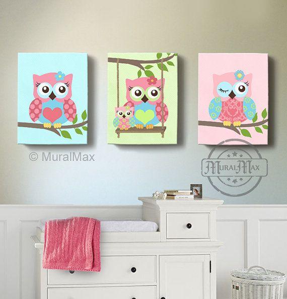 girl room decor owl canvas art baby nursery owl canvas set 12