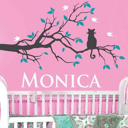 Xcm Custom Name Cat On Tree Birds Leaves Colors Vinyl Wall - Custom vinyl wall decals cats