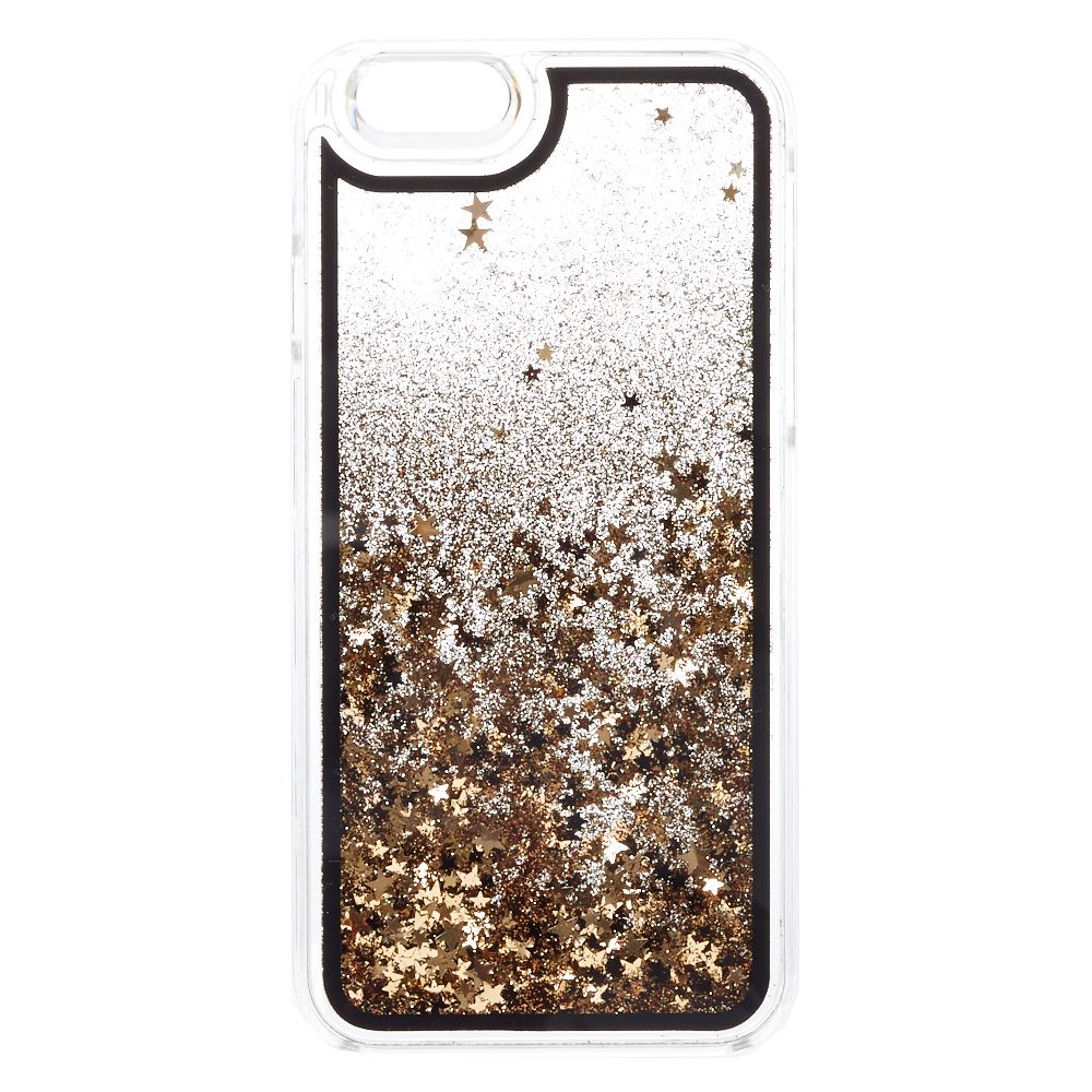 huge discount e7ecb 37a4b Black & Gold Star Glitter Liquid Fill iPhone Case | Room Makeover ...