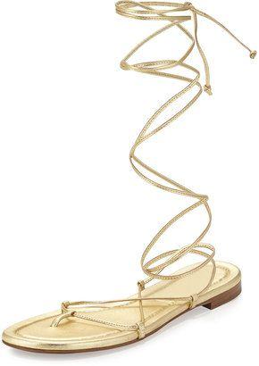 07e10cd9f60a Michael Kors Collection Bradshaw Lace-Up Gladiator Flat Sandal Flat  Gladiator Sandals, Michael Kors