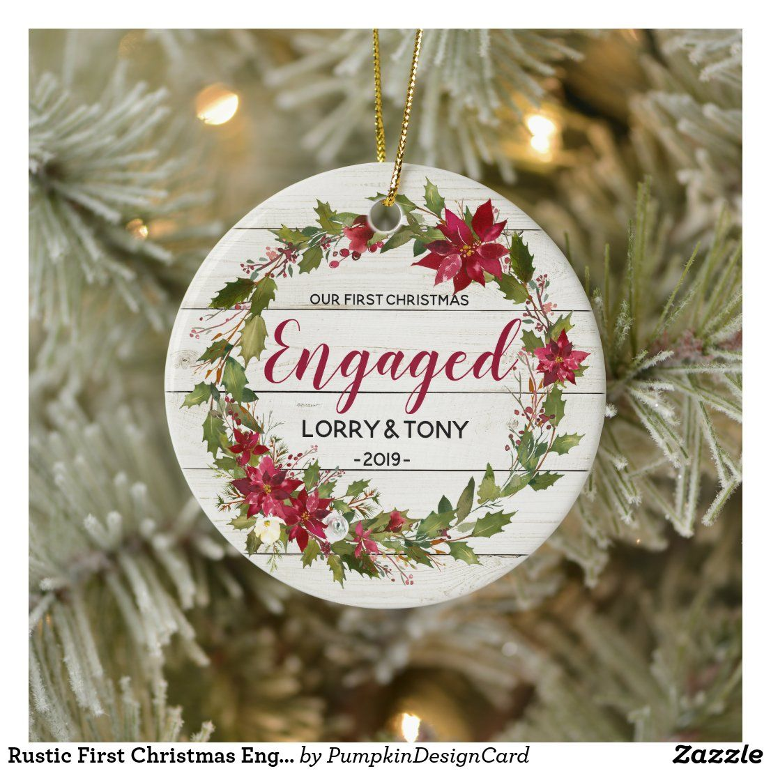 Rustic First Christmas Engaged Ornament in