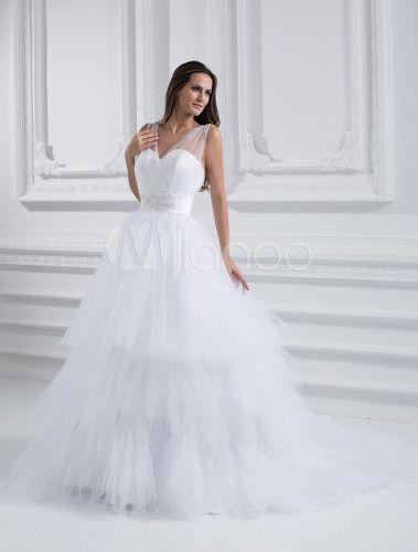 Vestido de novia blanco con correa de neto de Línea A - Milanoo.com