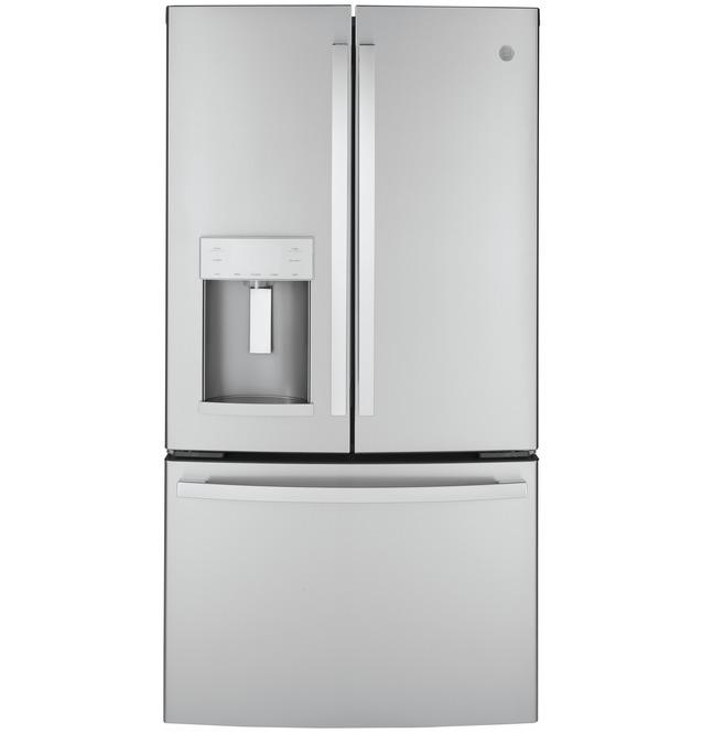 Ge Energy Star 22 1 Cu Ft Counter Depth Fingerprint Resistant French Door Refrigerator Gye22gynfs In 2020 French Door Refrigerator Ge Appliances Refrigerator Models