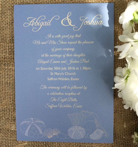 Seaside Shells flat wedding invitation by FloandBurt on Etsy