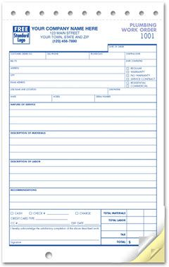 Compact Plumbing Work Order Form Write Up Work Orders Invoice