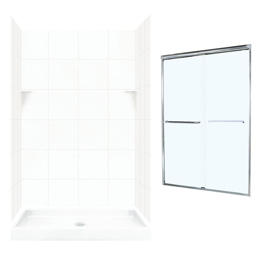 Swan White 5 Piece Alcove Shower Kit Common 34 In X 48 In