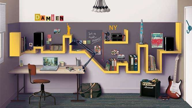 Une chambre d ado trendy recr er chez vous kids co pinterest tag res murale ado et york - Etagere pour chambre ado ...